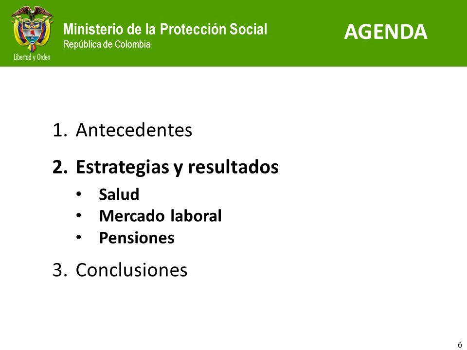 Ministerio de la Protección Social República de Colombia Inyección de recursos para un saneamiento de la deuda acumulada Conpes de fortalecimiento de prestadores que incluye recursos por $ 800 mil millones en tres años: Modernización y adecuación de la red pública Resultados en salud Calidad en la prestación Saneamiento fiscal Fondo de Garantías para apoyar hospitales (Fonsaet) Fondo de Garantías para el Sector Salud Evaluación de la gestión de la red pública (vincular presupuesto con resultados) 6.