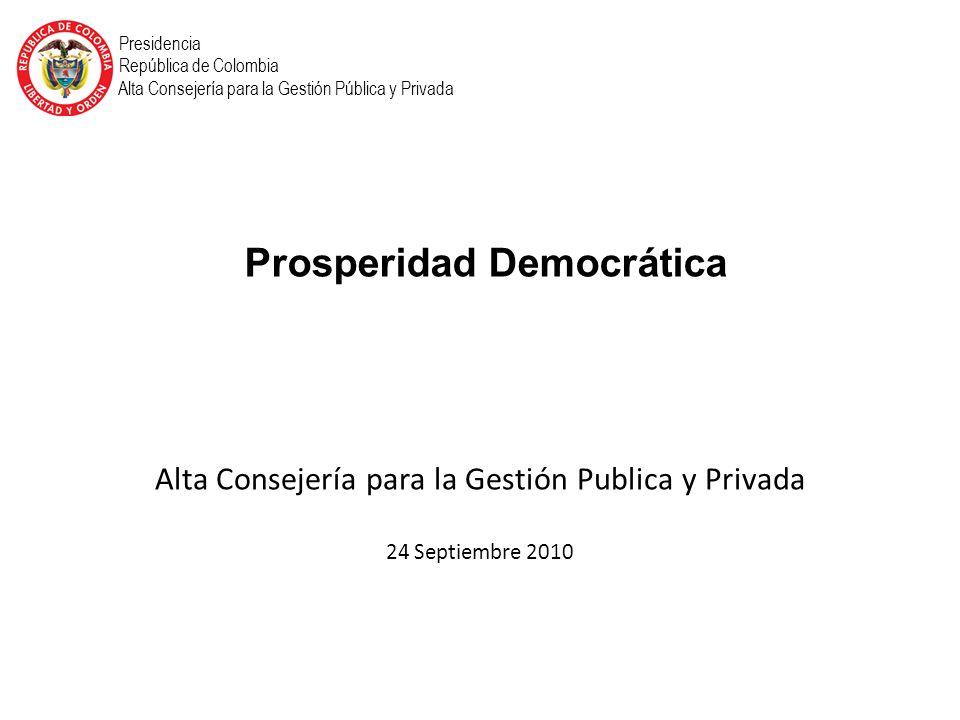 Alta Consejería para la Gestión Publica y Privada 24 Septiembre 2010 Presidencia República de Colombia Alta Consejería para la Gestión Pública y Privada Prosperidad Democrática