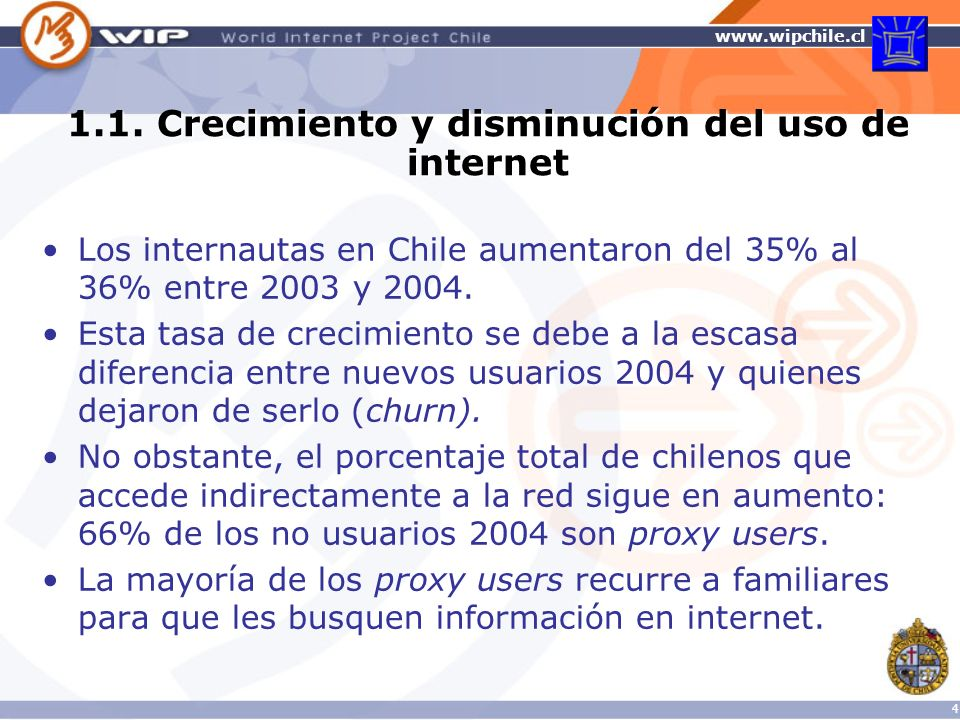 www.wipchile.cl 5 Porcentaje de usuarios de internet en el mundo, 2003