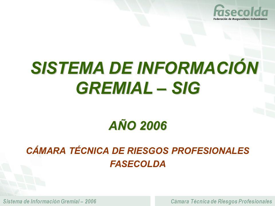 Sistema de Información Gremial – 2006Cámara Técnica de Riesgos Profesionales SISTEMA DE INFORMACIÓN GREMIAL – SIG SISTEMA DE INFORMACIÓN GREMIAL – SIG AÑO 2006 CÁMARA TÉCNICA DE RIESGOS PROFESIONALES FASECOLDA