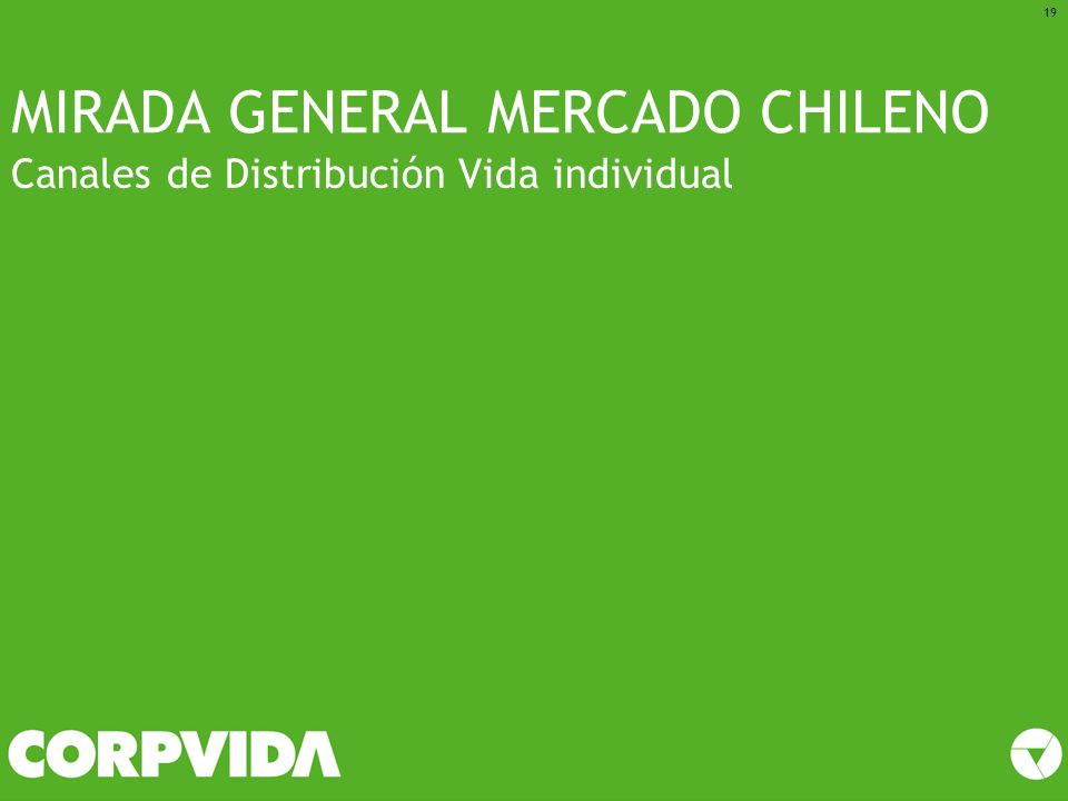 MIRADA GENERAL MERCADO CHILENO Canales de Distribución Vida individual 19