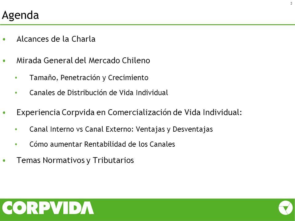 Agenda Alcances de la Charla Mirada General del Mercado Chileno Tamaño, Penetración y Crecimiento Canales de Distribución de Vida Individual Experienc