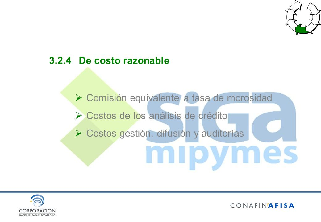 3.2.4De costo razonable Comisión equivalente a tasa de morosidad Costos de los análisis de crédito Costos gestión, difusión y auditorías