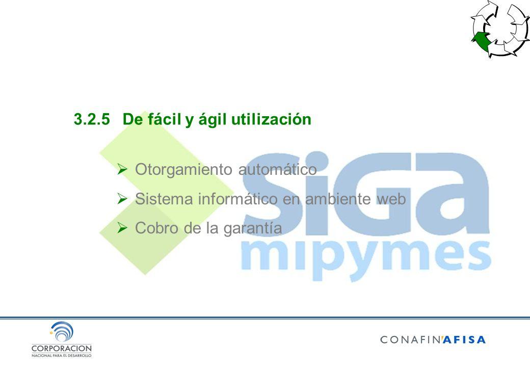3.2.5De fácil y ágil utilización Otorgamiento automático Sistema informático en ambiente web Cobro de la garantía