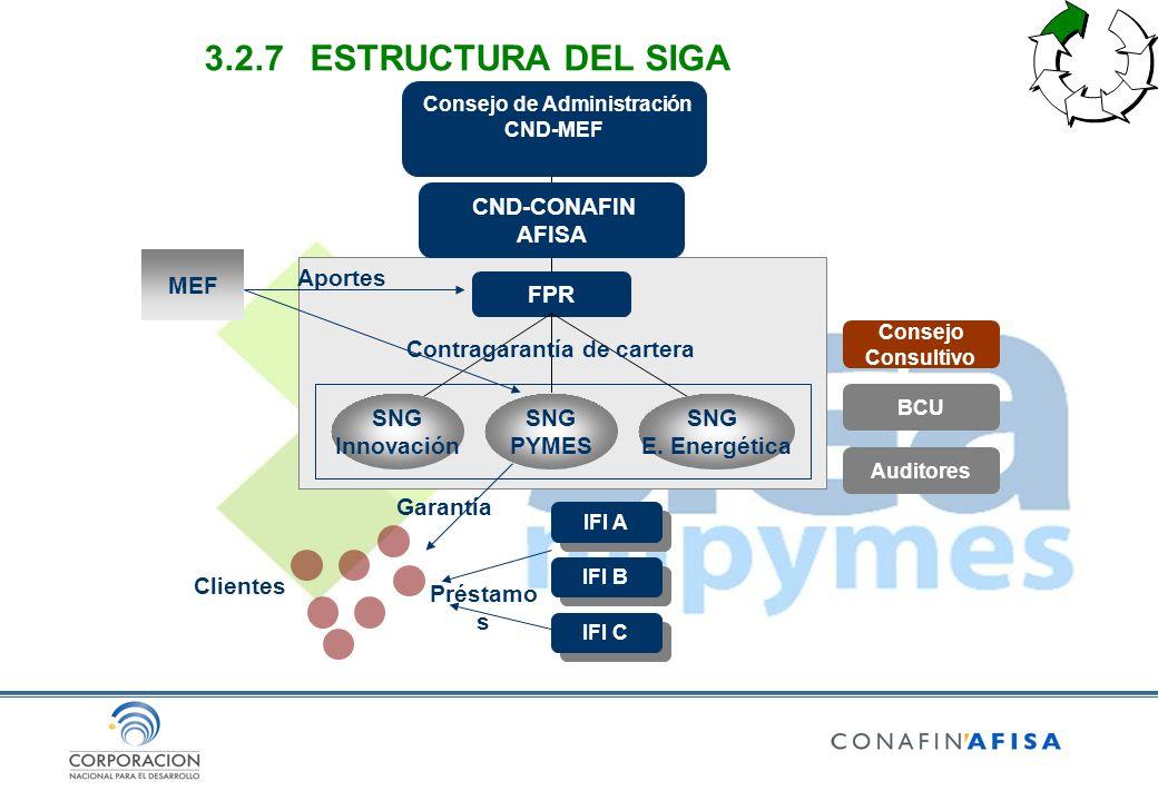 CND-CONAFIN AFISA FPR SNG E. Energética SNG PYMES SNG Innovación Contragarantía de cartera IFI A IFI B IFI C Clientes Garantía Préstamo s MEF Consejo