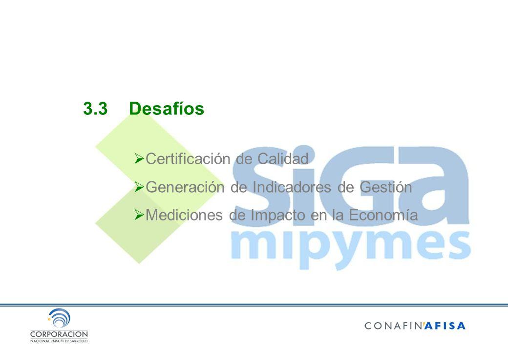 3.3Desafíos Certificación de Calidad Generación de Indicadores de Gestión Mediciones de Impacto en la Economía