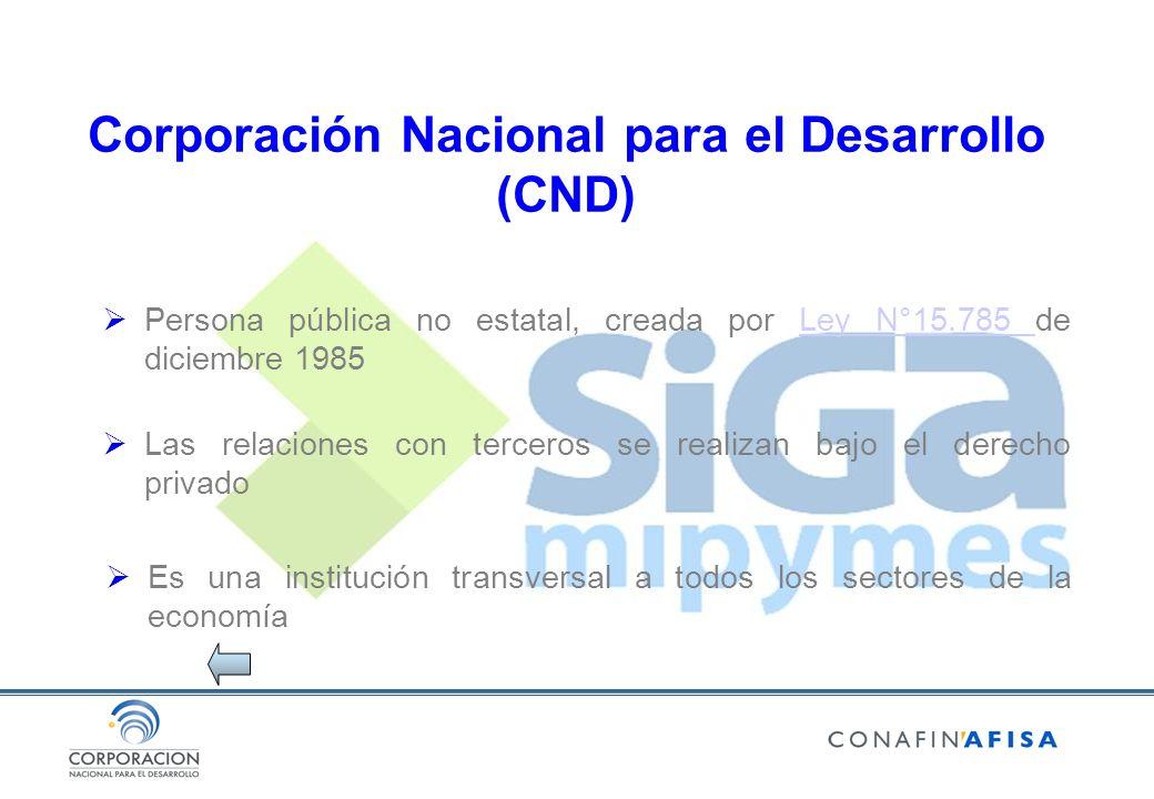 Corporación Nacional para el Desarrollo (CND) Persona pública no estatal, creada por Ley N°15.785 de diciembre 1985Ley N°15.785 Las relaciones con terceros se realizan bajo el derecho privado Es una institución transversal a todos los sectores de la economía