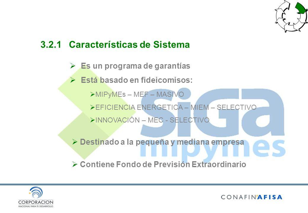 3.2.1Características de Sistema Es un programa de garantías Está basado en fideicomisos: MIPyMEs – MEF – MASIVO EFICIENCIA ENERGETICA – MIEM – SELECTI
