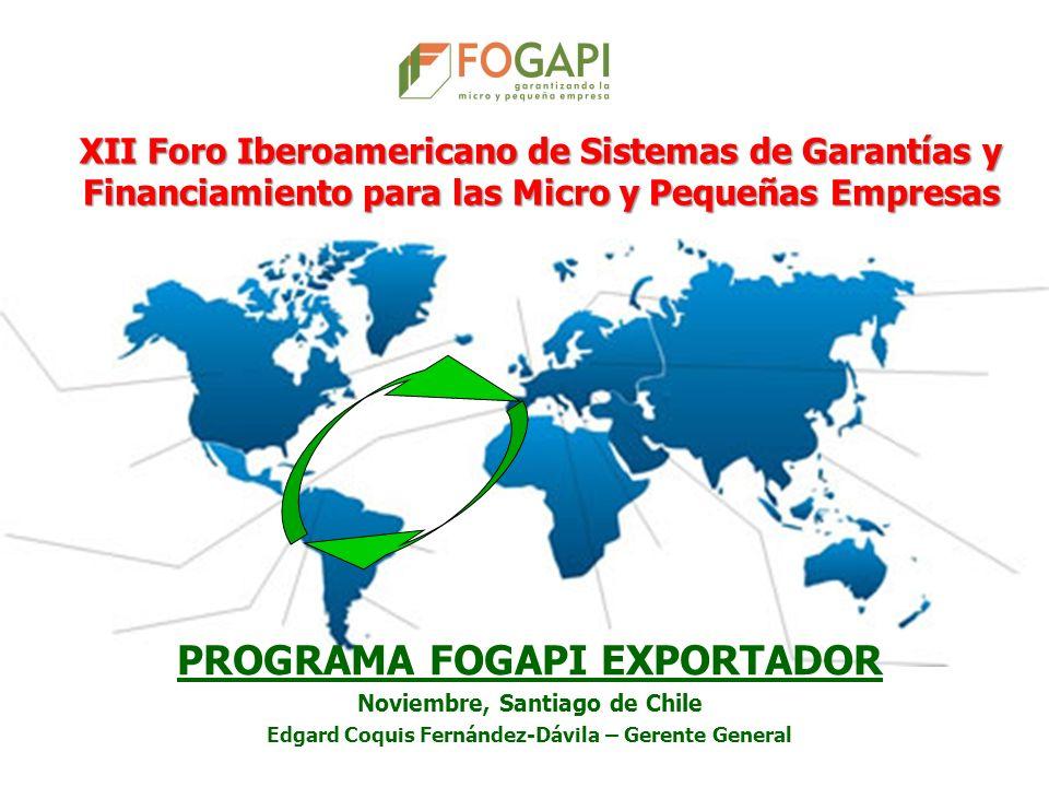 PROGRAMA FOGAPI EXPORTADOR Noviembre, Santiago de Chile Edgard Coquis Fernández-Dávila – Gerente General XII Foro Iberoamericano de Sistemas de Garant