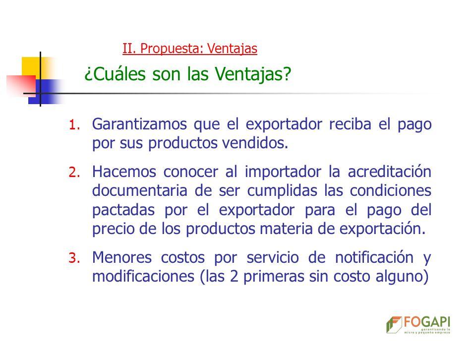 II. Propuesta: Ventajas ¿Cuáles son las Ventajas? 1. Garantizamos que el exportador reciba el pago por sus productos vendidos. 2. Hacemos conocer al i