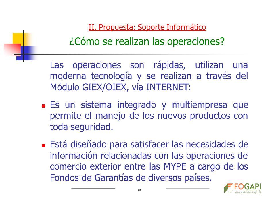 Las operaciones son rápidas, utilizan una moderna tecnología y se realizan a través del Módulo GIEX/OIEX, vía INTERNET: Es un sistema integrado y mult
