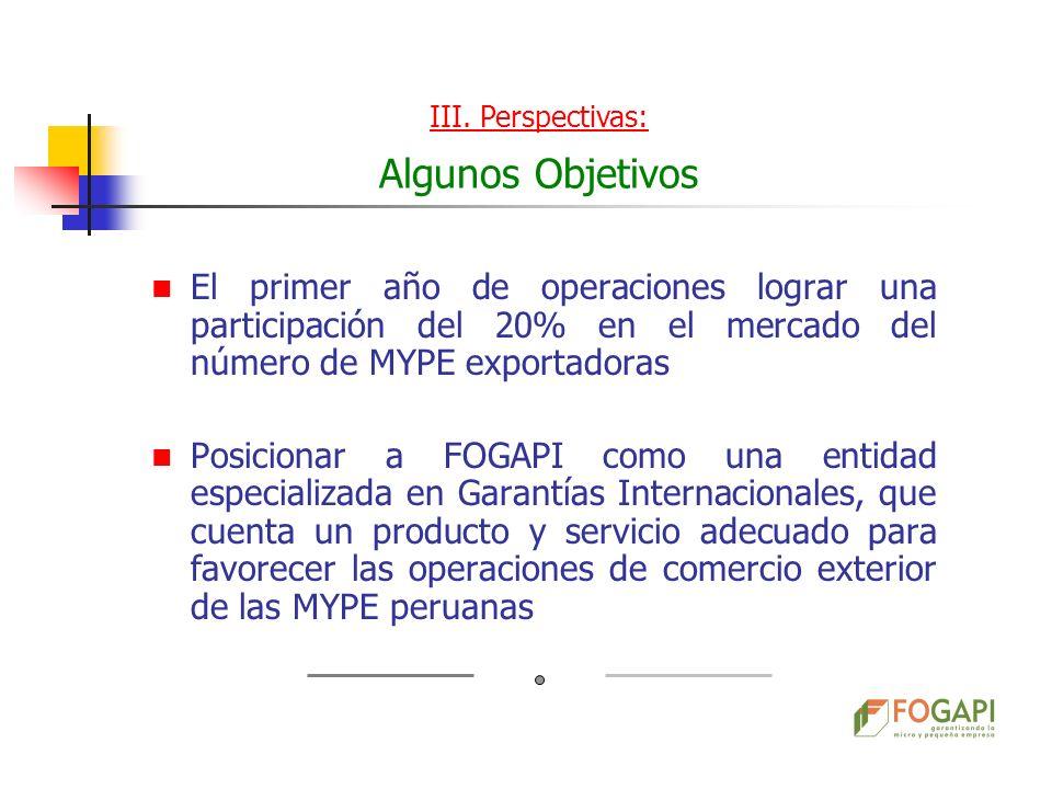 El primer año de operaciones lograr una participación del 20% en el mercado del número de MYPE exportadoras Posicionar a FOGAPI como una entidad espec