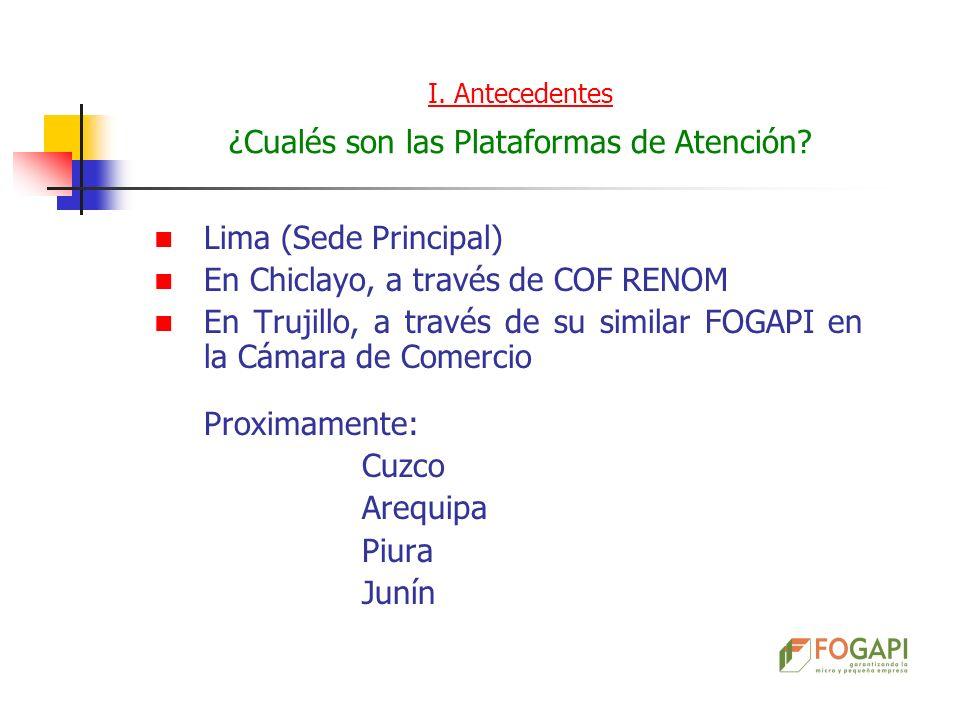 Lima (Sede Principal) En Chiclayo, a través de COF RENOM En Trujillo, a través de su similar FOGAPI en la Cámara de Comercio Proximamente: Cuzco Arequ
