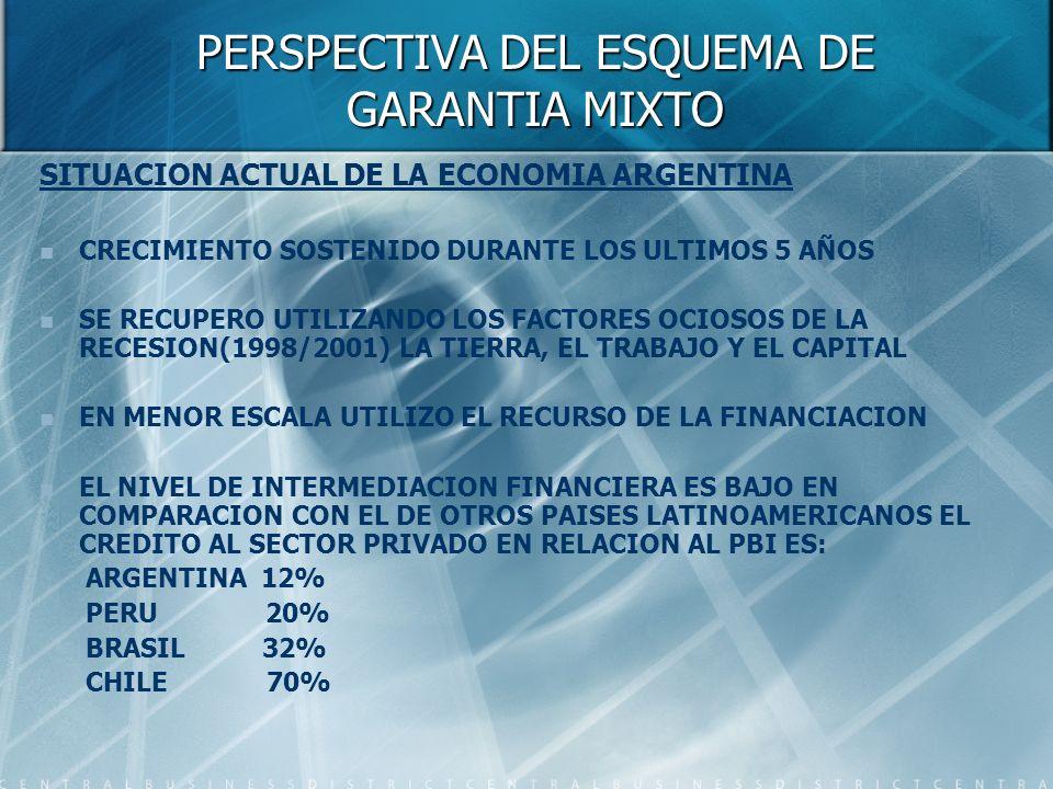 PERSPECTIVA DEL ESQUEMA DE GARANTIA MIXTO SITUACION ACTUAL DE LA ECONOMIA ARGENTINA CRECIMIENTO SOSTENIDO DURANTE LOS ULTIMOS 5 AÑOS SE RECUPERO UTILIZANDO LOS FACTORES OCIOSOS DE LA RECESION(1998/2001) LA TIERRA, EL TRABAJO Y EL CAPITAL EN MENOR ESCALA UTILIZO EL RECURSO DE LA FINANCIACION EL NIVEL DE INTERMEDIACION FINANCIERA ES BAJO EN COMPARACION CON EL DE OTROS PAISES LATINOAMERICANOS EL CREDITO AL SECTOR PRIVADO EN RELACION AL PBI ES: ARGENTINA 12% PERU 20% BRASIL 32% CHILE 70%