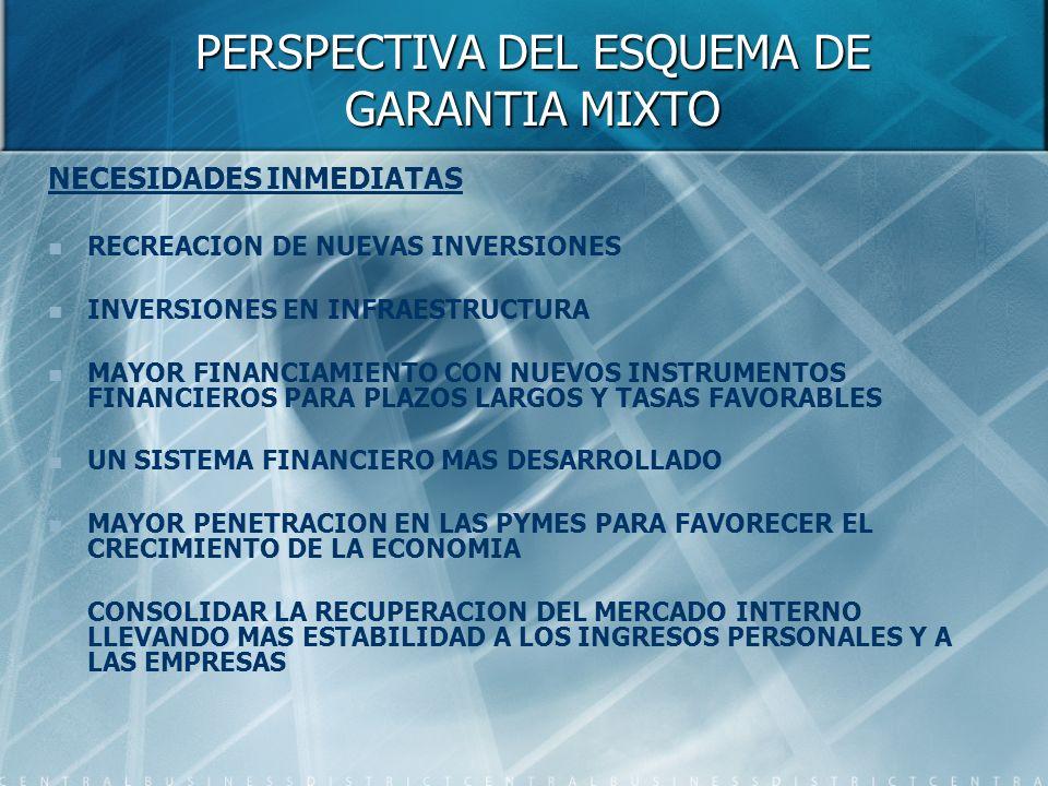 PERSPECTIVA DEL ESQUEMA DE GARANTIA MIXTO NECESIDADES INMEDIATAS RECREACION DE NUEVAS INVERSIONES INVERSIONES EN INFRAESTRUCTURA MAYOR FINANCIAMIENTO CON NUEVOS INSTRUMENTOS FINANCIEROS PARA PLAZOS LARGOS Y TASAS FAVORABLES UN SISTEMA FINANCIERO MAS DESARROLLADO MAYOR PENETRACION EN LAS PYMES PARA FAVORECER EL CRECIMIENTO DE LA ECONOMIA CONSOLIDAR LA RECUPERACION DEL MERCADO INTERNO LLEVANDO MAS ESTABILIDAD A LOS INGRESOS PERSONALES Y A LAS EMPRESAS