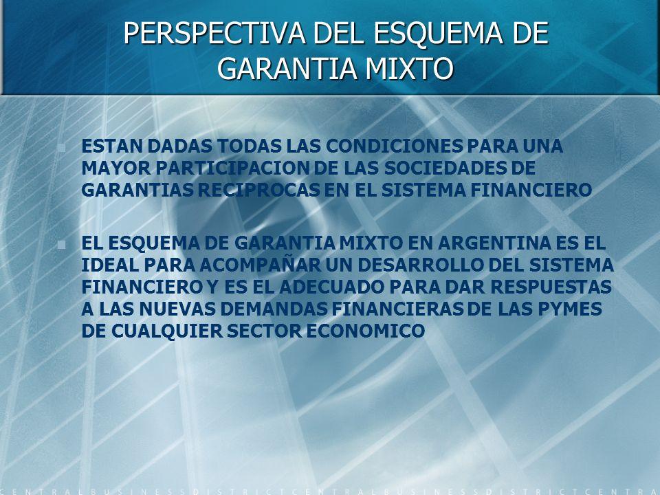 PERSPECTIVA DEL ESQUEMA DE GARANTIA MIXTO ESTAN DADAS TODAS LAS CONDICIONES PARA UNA MAYOR PARTICIPACION DE LAS SOCIEDADES DE GARANTIAS RECIPROCAS EN