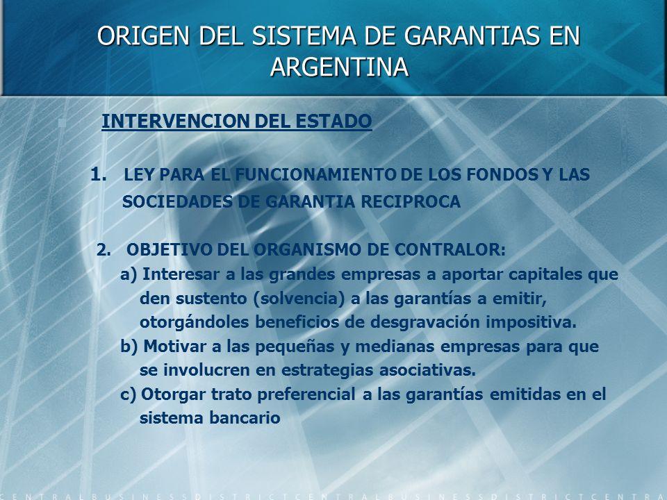 ORIGEN DEL SISTEMA DE GARANTIAS EN ARGENTINA INTERVENCION DEL ESTADO 1. LEY PARA EL FUNCIONAMIENTO DE LOS FONDOS Y LAS SOCIEDADES DE GARANTIA RECIPROC