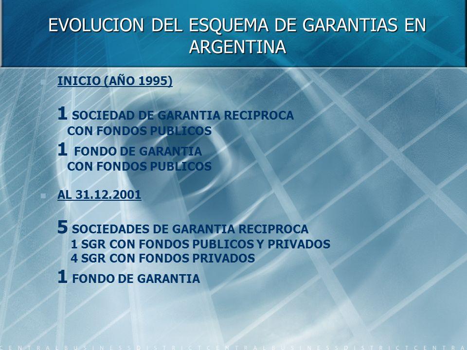 EVOLUCION DEL ESQUEMA DE GARANTIAS EN ARGENTINA INICIO (AÑO 1995) 1 SOCIEDAD DE GARANTIA RECIPROCA CON FONDOS PUBLICOS 1 FONDO DE GARANTIA CON FONDOS PUBLICOS AL 31.12.2001 5 SOCIEDADES DE GARANTIA RECIPROCA 1 SGR CON FONDOS PUBLICOS Y PRIVADOS 4 SGR CON FONDOS PRIVADOS 1 FONDO DE GARANTIA