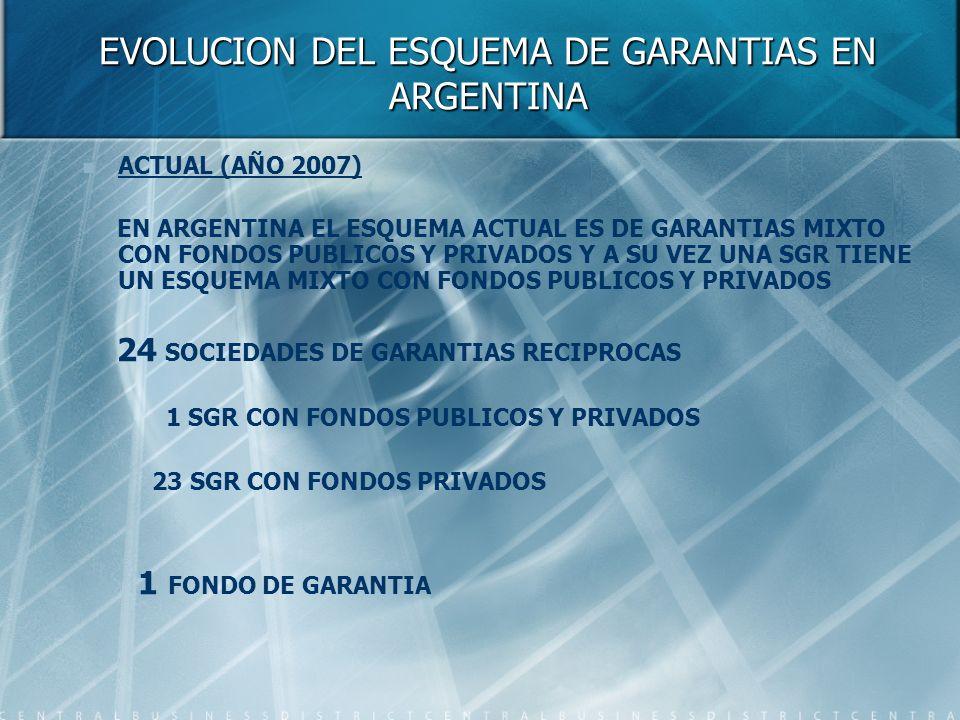 EVOLUCION DEL ESQUEMA DE GARANTIAS EN ARGENTINA ACTUAL (AÑO 2007) EN ARGENTINA EL ESQUEMA ACTUAL ES DE GARANTIAS MIXTO CON FONDOS PUBLICOS Y PRIVADOS Y A SU VEZ UNA SGR TIENE UN ESQUEMA MIXTO CON FONDOS PUBLICOS Y PRIVADOS 24 SOCIEDADES DE GARANTIAS RECIPROCAS 1 SGR CON FONDOS PUBLICOS Y PRIVADOS 23 SGR CON FONDOS PRIVADOS 1 FONDO DE GARANTIA