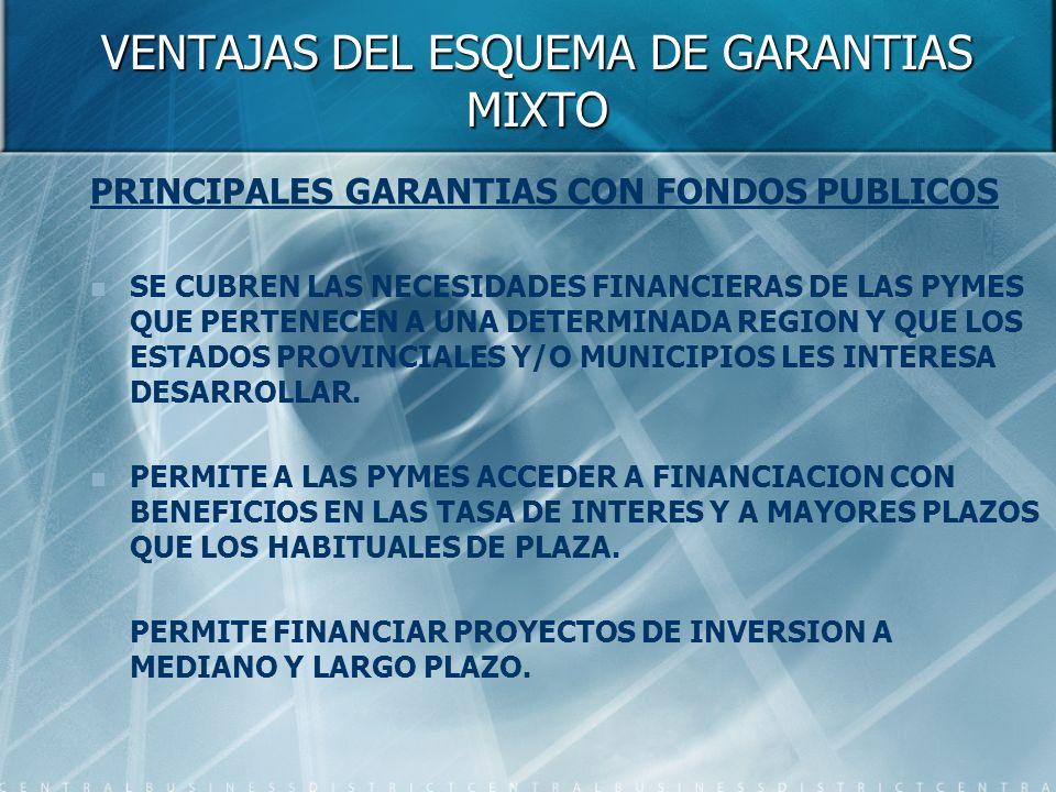 VENTAJAS DEL ESQUEMA DE GARANTIAS MIXTO PRINCIPALES GARANTIAS CON FONDOS PUBLICOS SE CUBREN LAS NECESIDADES FINANCIERAS DE LAS PYMES QUE PERTENECEN A UNA DETERMINADA REGION Y QUE LOS ESTADOS PROVINCIALES Y/O MUNICIPIOS LES INTERESA DESARROLLAR.