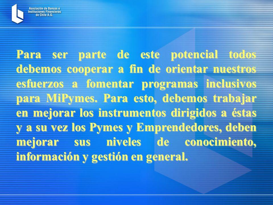 Para ser parte de este potencial todos debemos cooperar a fin de orientar nuestros esfuerzos a fomentar programas inclusivos para MiPymes.