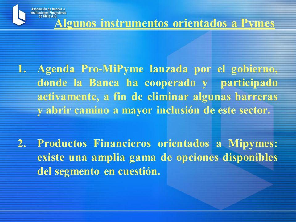 1.Agenda Pro-MiPyme lanzada por el gobierno, donde la Banca ha cooperado y participado activamente, a fin de eliminar algunas barreras y abrir camino a mayor inclusión de este sector.
