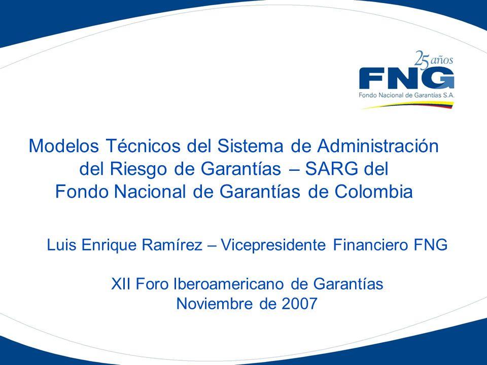Modelos Técnicos del Sistema de Administración del Riesgo de Garantías – SARG del Fondo Nacional de Garantías de Colombia Luis Enrique Ramírez – Vicep