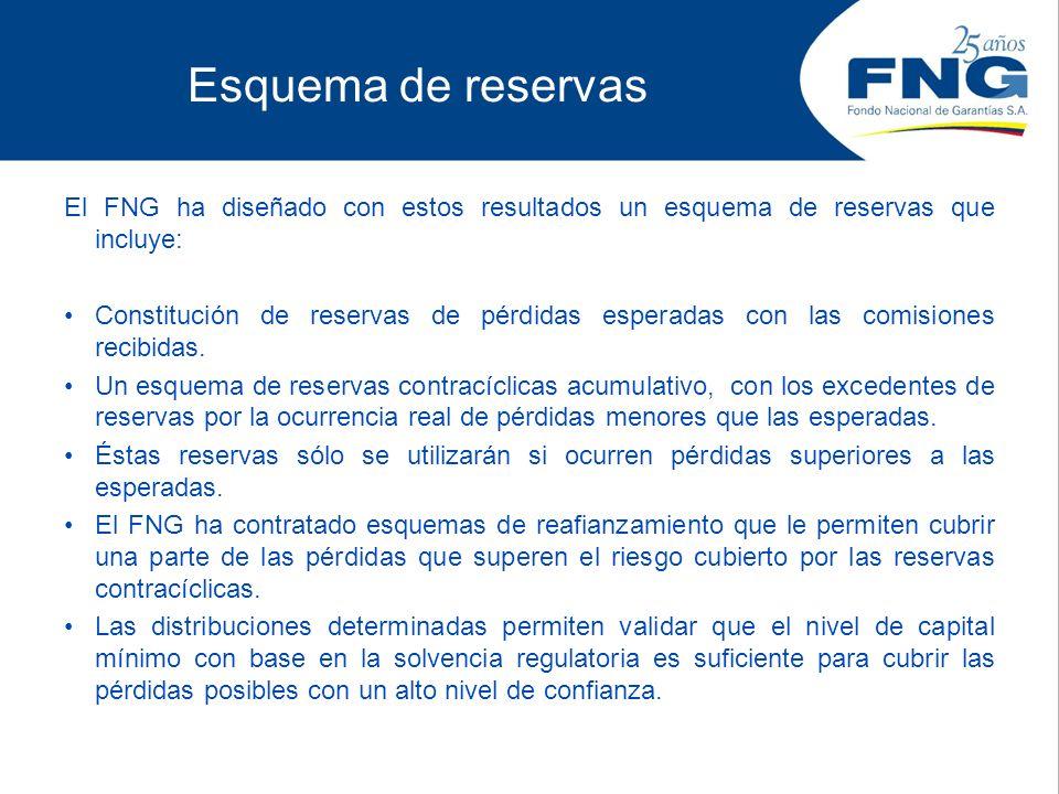 Esquema de reservas El FNG ha diseñado con estos resultados un esquema de reservas que incluye: Constitución de reservas de pérdidas esperadas con las