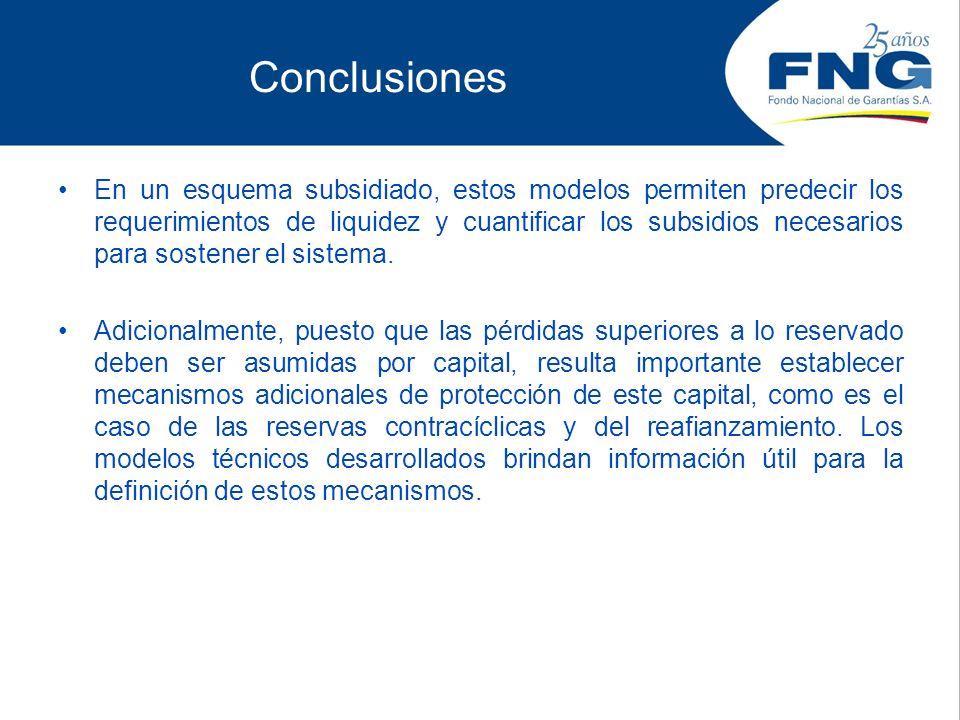 Conclusiones En un esquema subsidiado, estos modelos permiten predecir los requerimientos de liquidez y cuantificar los subsidios necesarios para sost