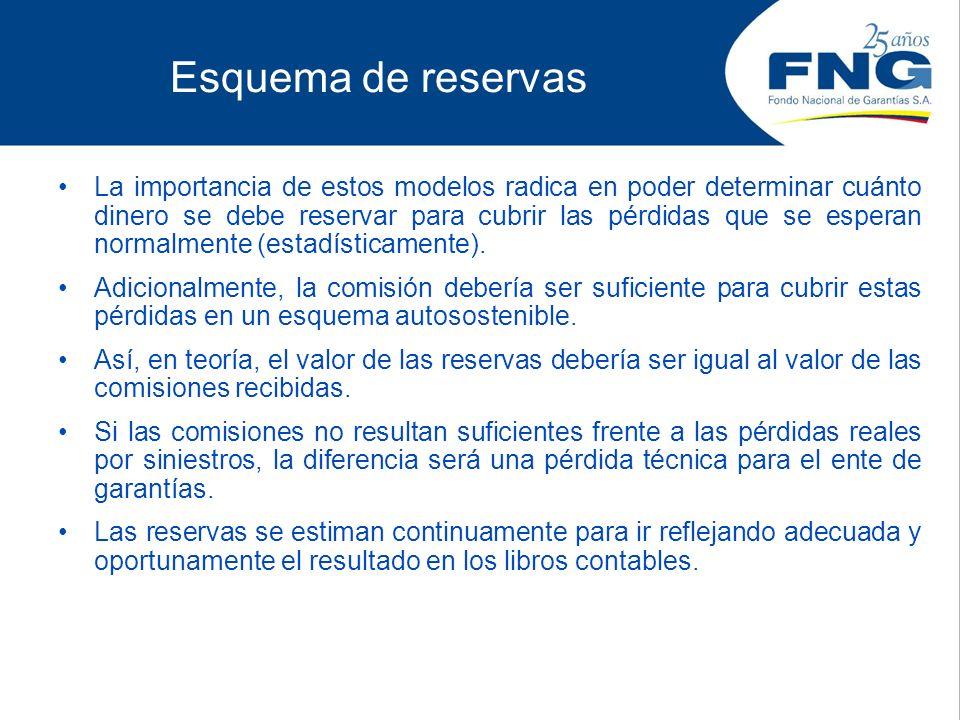 Esquema de reservas La importancia de estos modelos radica en poder determinar cuánto dinero se debe reservar para cubrir las pérdidas que se esperan