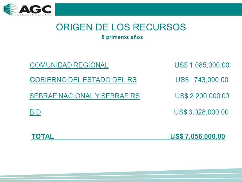 ORIGEN DE LOS RECURSOS COMUNIDAD REGIONAL US$ 1.085,000.00 GOBIERNO DEL ESTADO DEL RS US$ 743,000.00 SEBRAE NACIONAL Y SEBRAE RS US$ 2.200,000.00 BID US$ 3.028,000.00 TOTAL US$ 7.056,000.00 8 primeros años