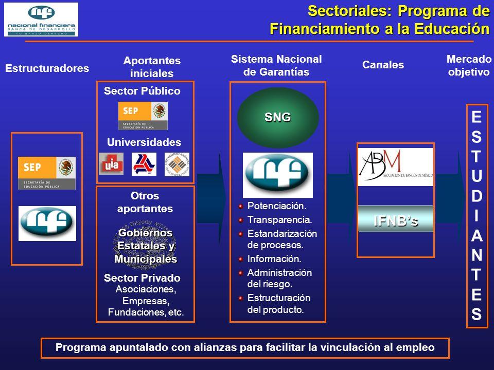 Aportantes iniciales Sector Privado Sector Público ESTUDIANTESESTUDIANTES Mercado objetivo Otros aportantes Universidades Asociaciones, Empresas, Fundaciones, etc.
