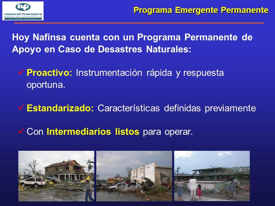Programa Emergente Permanente Hoy Nafinsa cuenta con un Programa Permanente de Apoyo en Caso de Desastres Naturales: Proactivo: Instrumentación rápida y respuesta oportuna.