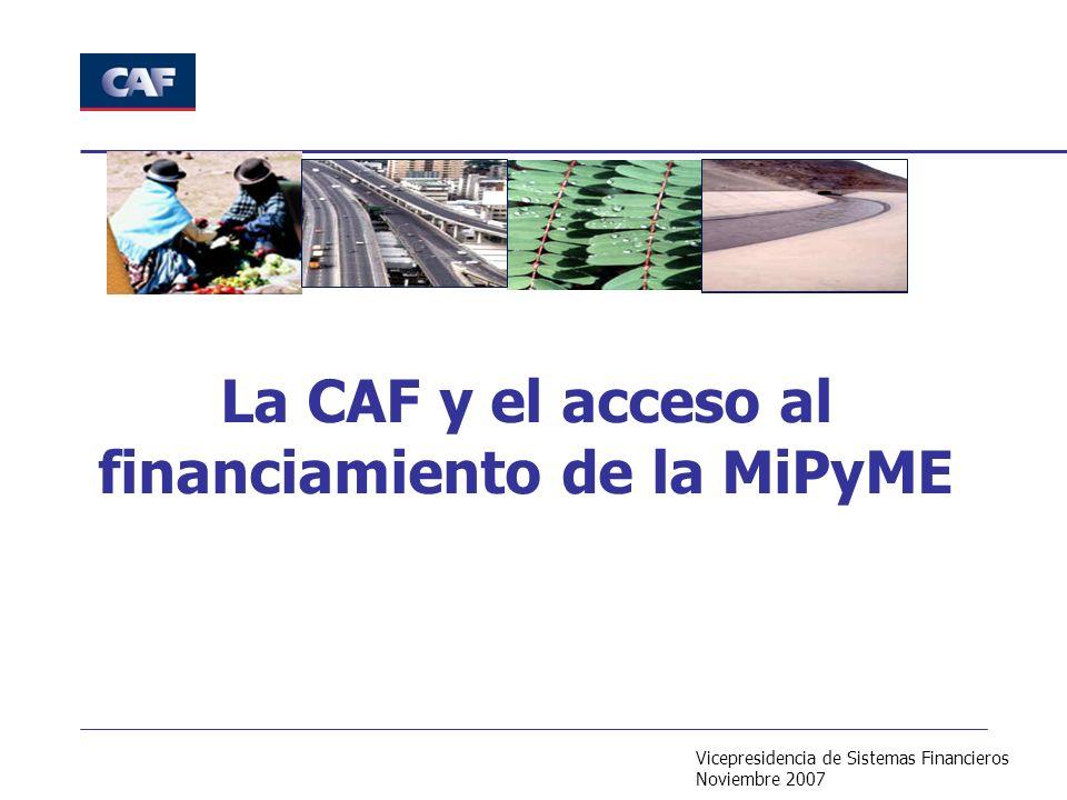 Vicepresidencia de Sistemas Financieros Noviembre 2007 La CAF y el acceso al financiamiento de la MiPyME