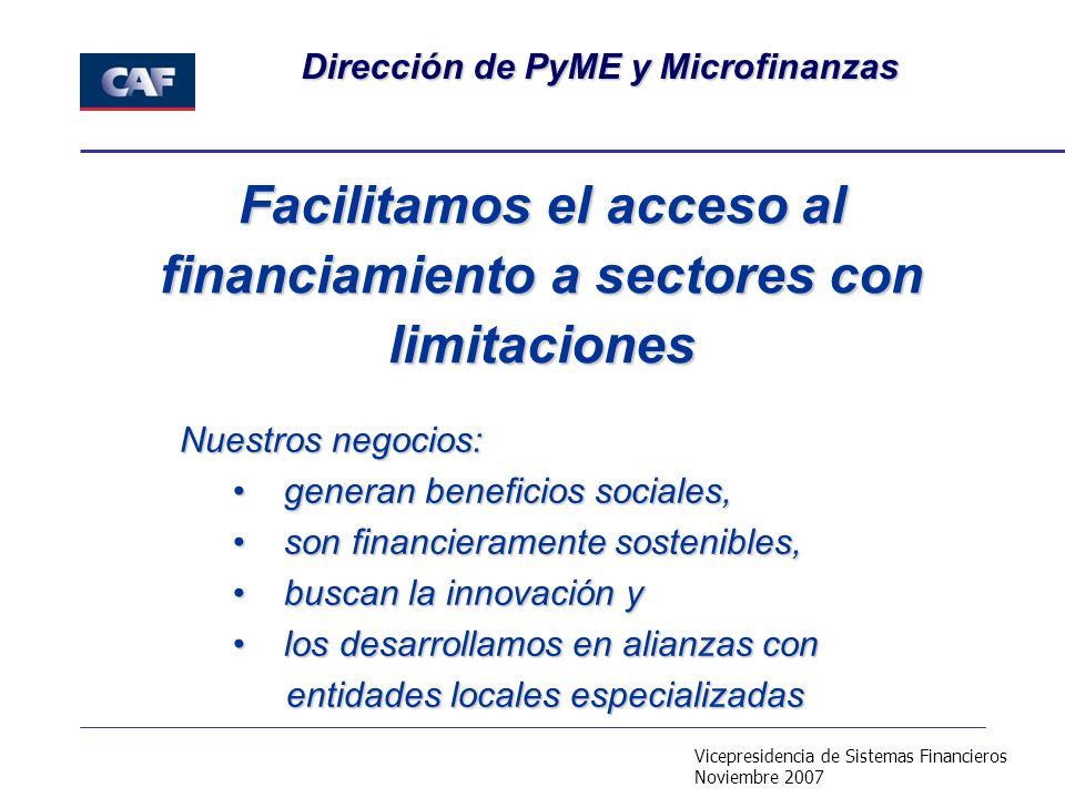 Vicepresidencia de Sistemas Financieros Noviembre 2007 Dirección de PyME y Microfinanzas Facilitamos el acceso al financiamiento a sectores con limita