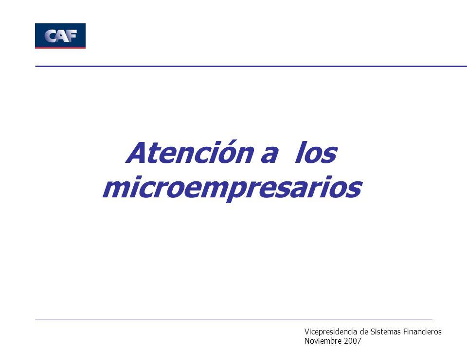 Vicepresidencia de Sistemas Financieros Noviembre 2007 Atención a los microempresarios
