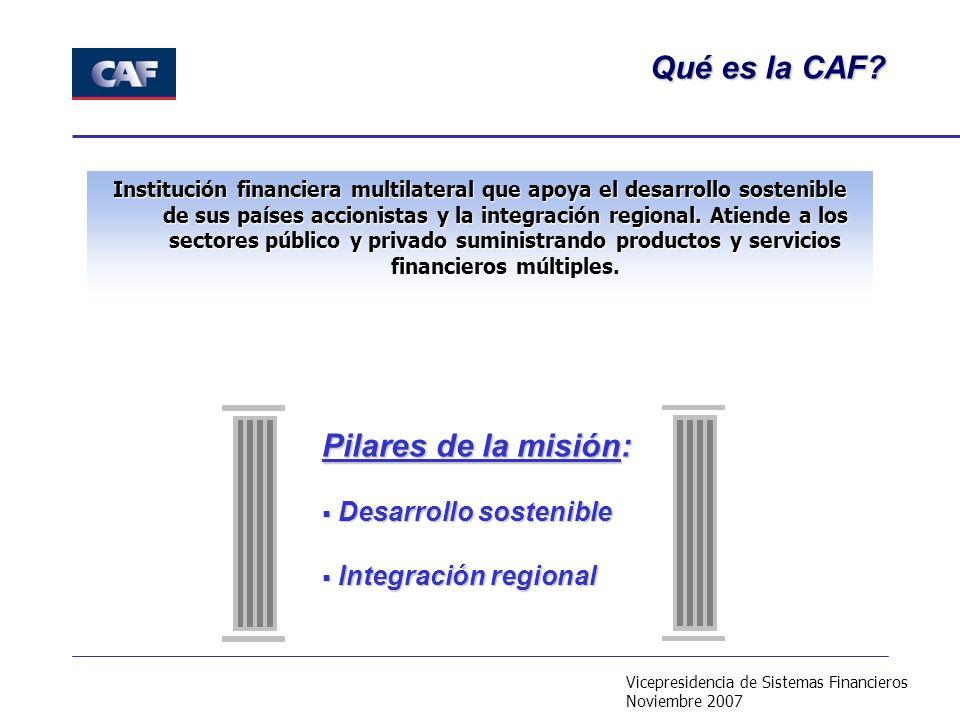 Vicepresidencia de Sistemas Financieros Noviembre 2007 Institución financiera multilateral que apoya el desarrollo sostenible de sus países accionistas y la integración regional.