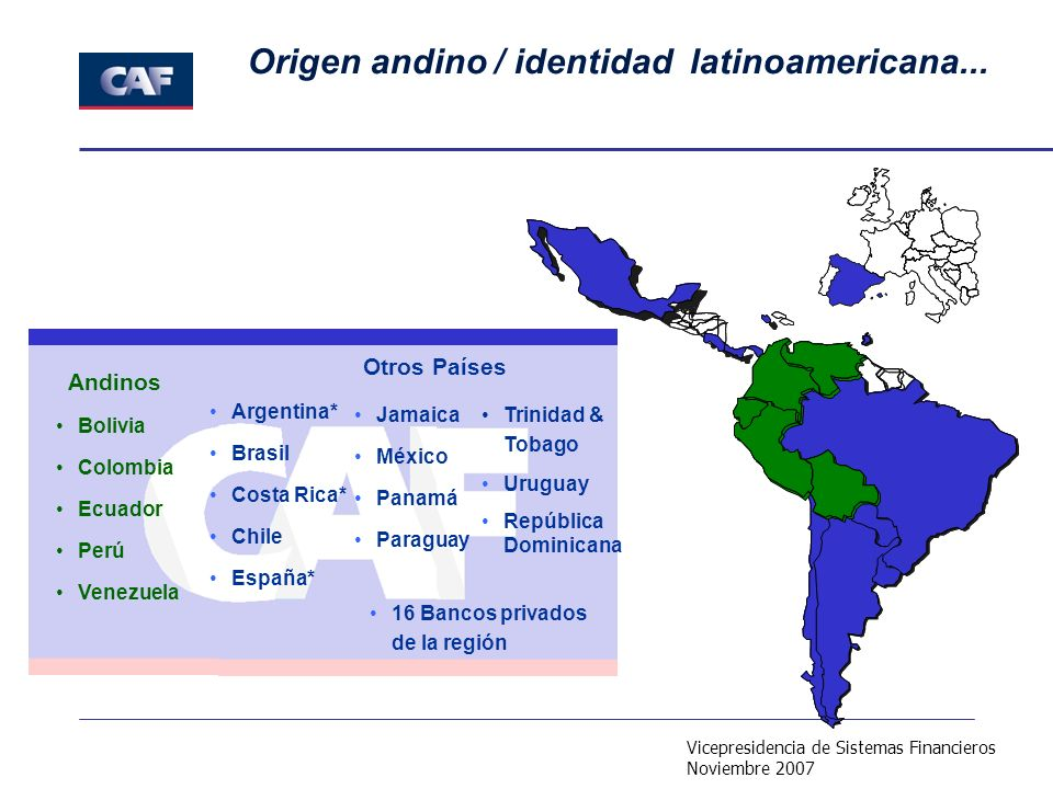 Vicepresidencia de Sistemas Financieros Noviembre 2007 Origen andino / identidad latinoamericana... Argentina* Brasil Costa Rica* Chile España* Bolivi