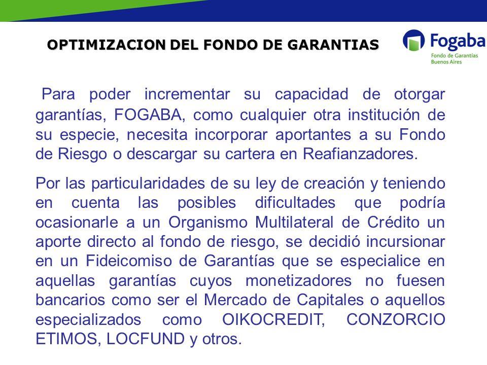 OPTIMIZACION DEL FONDO DE GARANTIAS Para poder incrementar su capacidad de otorgar garantías, FOGABA, como cualquier otra institución de su especie, n