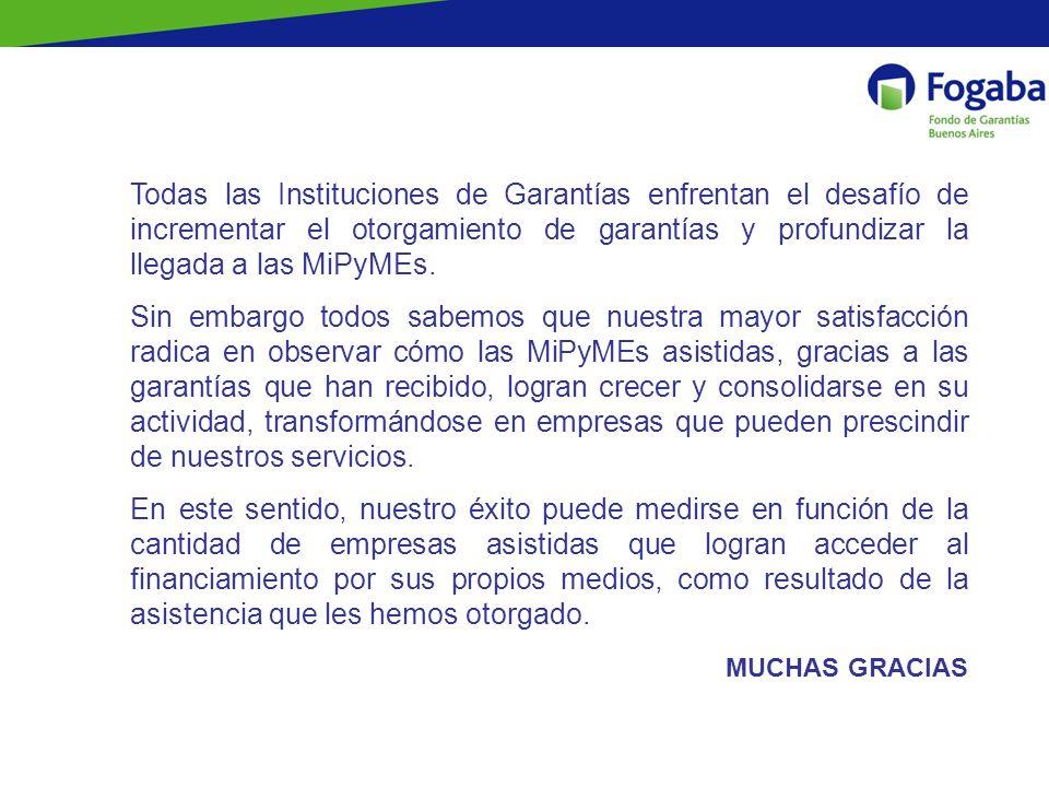 Todas las Instituciones de Garantías enfrentan el desafío de incrementar el otorgamiento de garantías y profundizar la llegada a las MiPyMEs. Sin emba