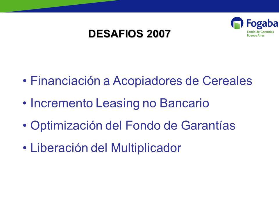 DESAFIOS 2007 Financiación a Acopiadores de Cereales Incremento Leasing no Bancario Optimización del Fondo de Garantías Liberación del Multiplicador