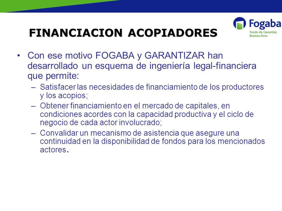 Con ese motivo FOGABA y GARANTIZAR han desarrollado un esquema de ingeniería legal-financiera que permite: –Satisfacer las necesidades de financiamien