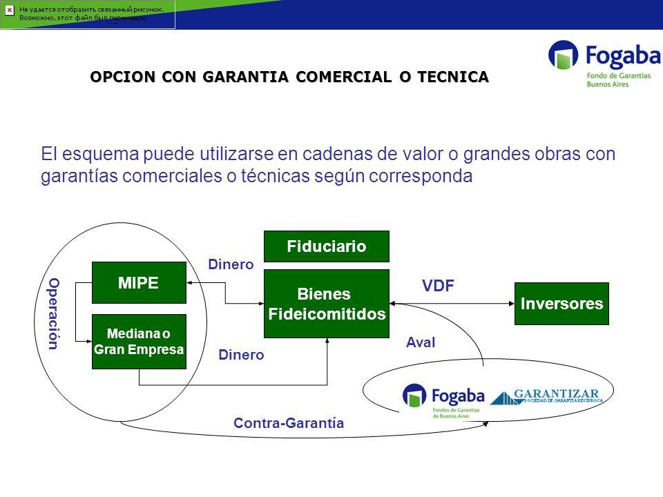 OPCION CON GARANTIA COMERCIAL O TECNICA El esquema puede utilizarse en cadenas de valor o grandes obras con garantías comerciales o técnicas según cor