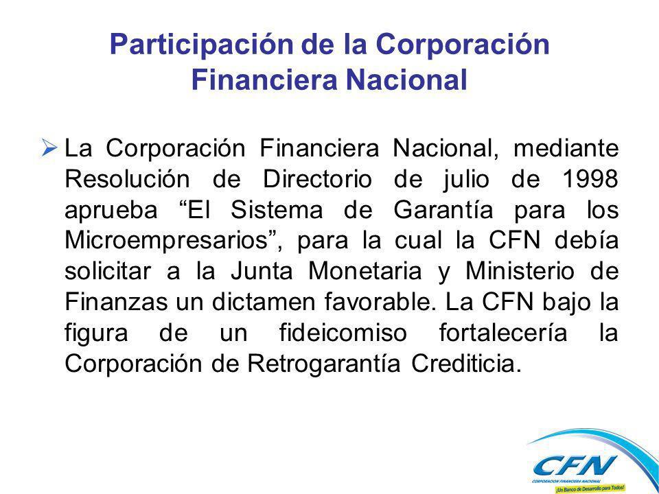 Participación de la Corporación Financiera Nacional La Corporación Financiera Nacional, mediante Resolución de Directorio de julio de 1998 aprueba El Sistema de Garantía para los Microempresarios, para la cual la CFN debía solicitar a la Junta Monetaria y Ministerio de Finanzas un dictamen favorable.