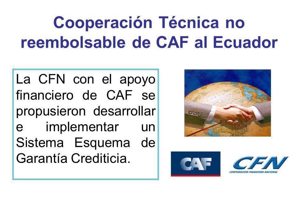 Cooperación Técnica no reembolsable de CAF al Ecuador La CFN con el apoyo financiero de CAF se propusieron desarrollar e implementar un Sistema Esquema de Garantía Crediticia.