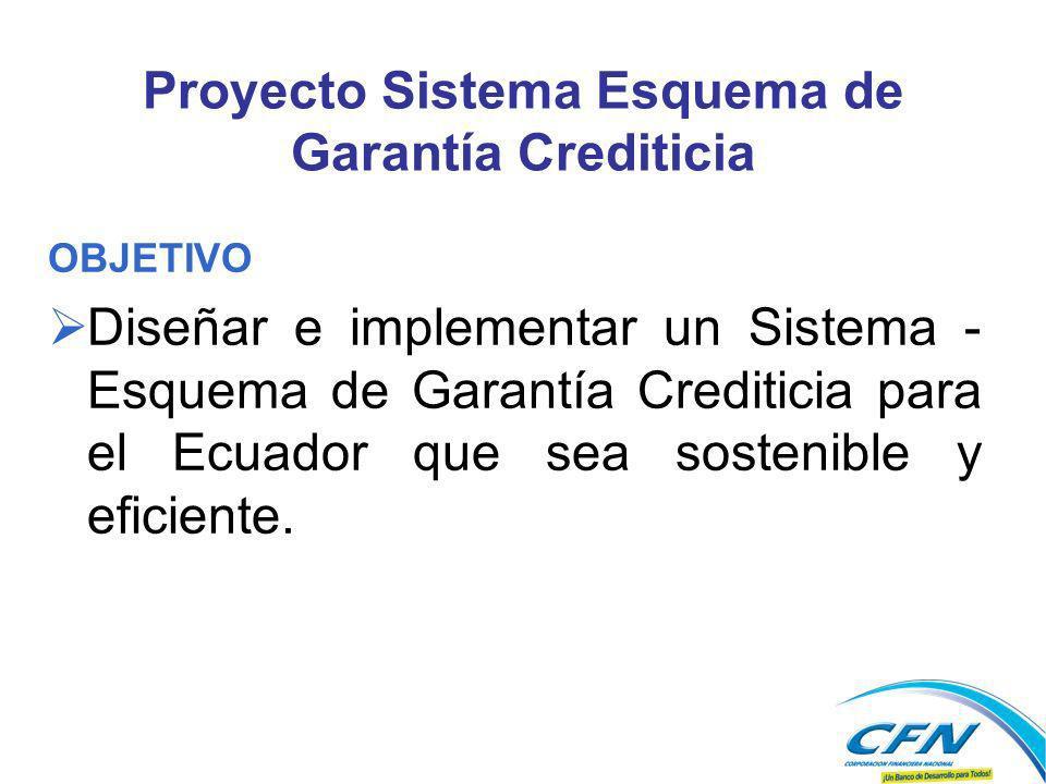Proyecto Sistema Esquema de Garantía Crediticia OBJETIVO Diseñar e implementar un Sistema - Esquema de Garantía Crediticia para el Ecuador que sea sostenible y eficiente.