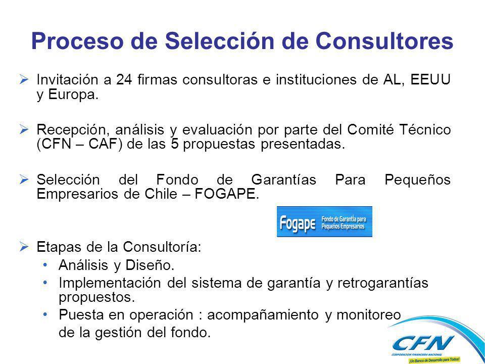 Proceso de Selección de Consultores Invitación a 24 firmas consultoras e instituciones de AL, EEUU y Europa.