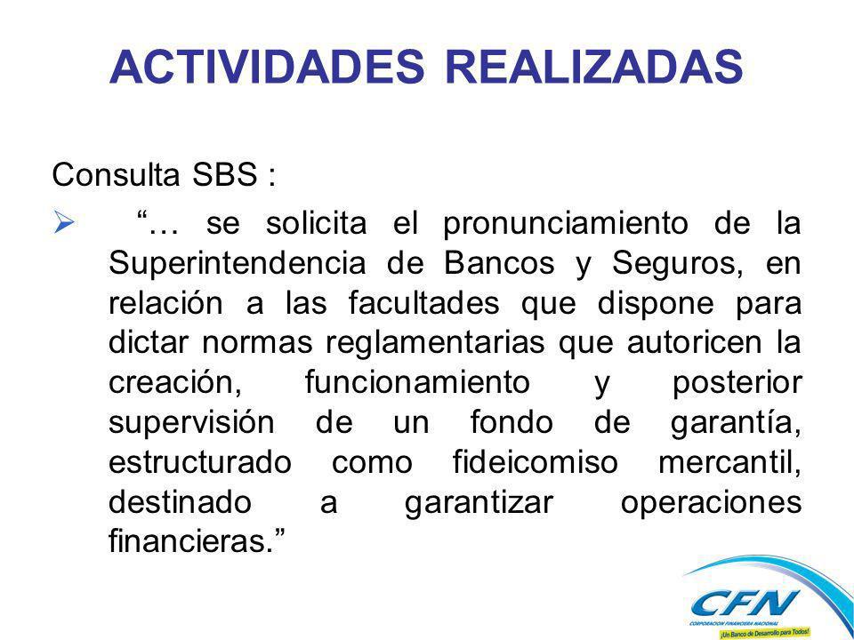 ACTIVIDADES REALIZADAS Consulta SBS : … se solicita el pronunciamiento de la Superintendencia de Bancos y Seguros, en relación a las facultades que di