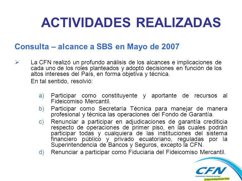 Consulta – alcance a SBS en Mayo de 2007 La CFN realizó un profundo análisis de los alcances e implicaciones de cada uno de los roles planteados y adoptó decisiones en función de los altos intereses del País, en forma objetiva y técnica.