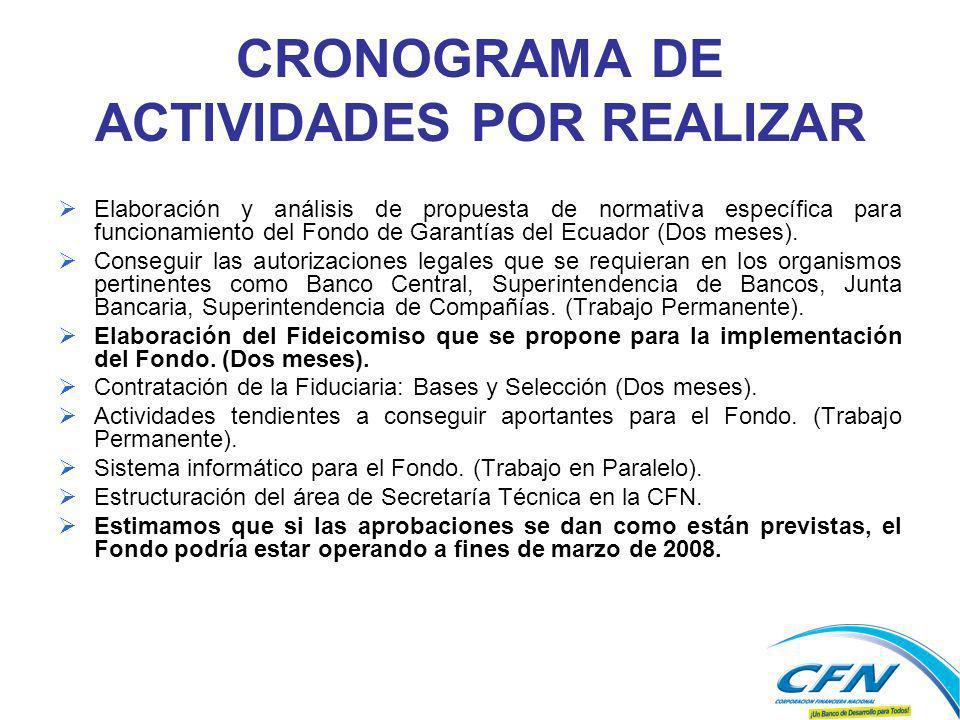 CRONOGRAMA DE ACTIVIDADES POR REALIZAR Elaboración y análisis de propuesta de normativa específica para funcionamiento del Fondo de Garantías del Ecuador (Dos meses).